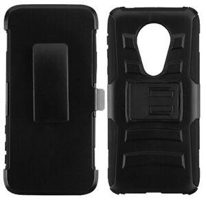 For Motorola Moto G7 Power Combo Holster Hybrid Kickstand Rubber Cover Black 650229048811 Ebay