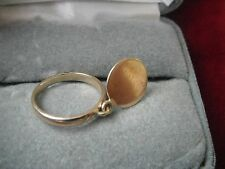 Estate 14k Yellow  Gold Dangling coin charm Ring, Size 4.75 ! Can be engraved