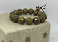 Carved Buddha Green Sandal Wood Mala Bead Yoga Mala Buddha Bracelet Meditation
