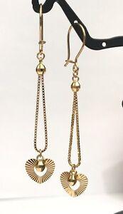 18k-Solid-Yellow-Gold-Dangle-Heart-Leverback-Earrings-Diamond-Cut-2-20-Grams