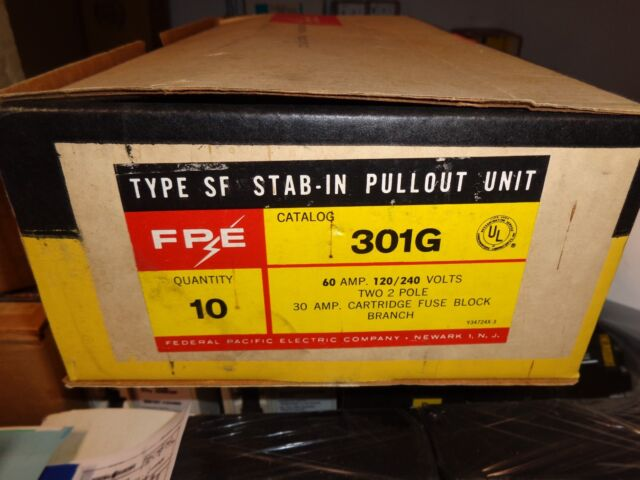 federal fuse box federal pacific fpe 301g 60a fuse block w pullouts for sale  federal pacific fpe 301g 60a fuse block