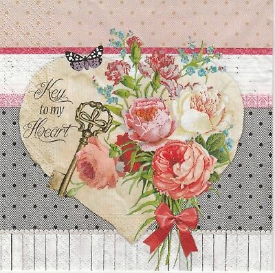 4x Paper Napkins for Decoupage Decopatch Craft Heart Birch