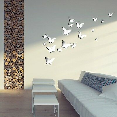 DIY 3D 20pcs Butterfiles Mirror Stlye Silver Removable Wall Home Decor