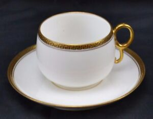 Limoges-France-Cup-and-Saucer-Black-Greek-Key-on-Thick-Double-Gold-Trim