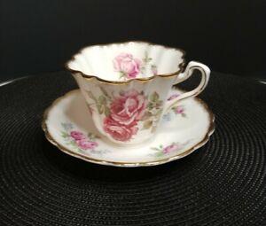 Vintage-Rosina-Pink-Cabbage-Rose-Tea-Cup-and-Saucer-Bone-China-England