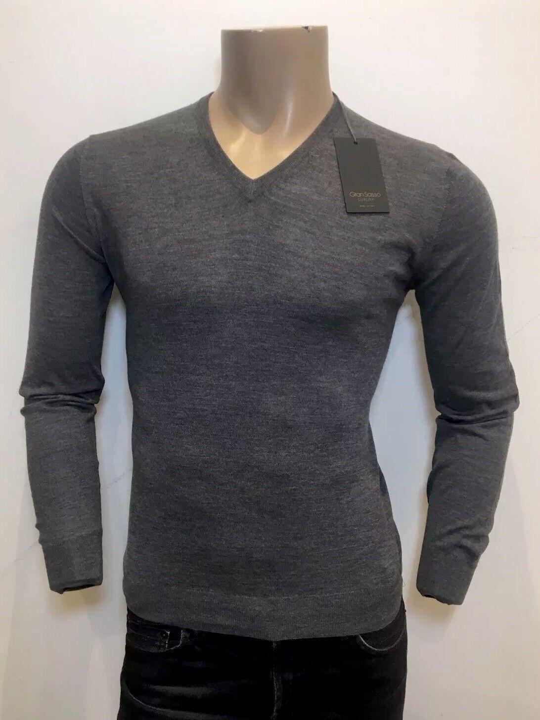 GRAN SASSO Lusso  100% cashmere grigio V-Neck Sweater Maglione Rrp  .00