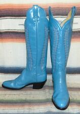 Womens Vintage Panhandle Slim Turquoise Blue Leather Cowboy Boots 6 B New In Box