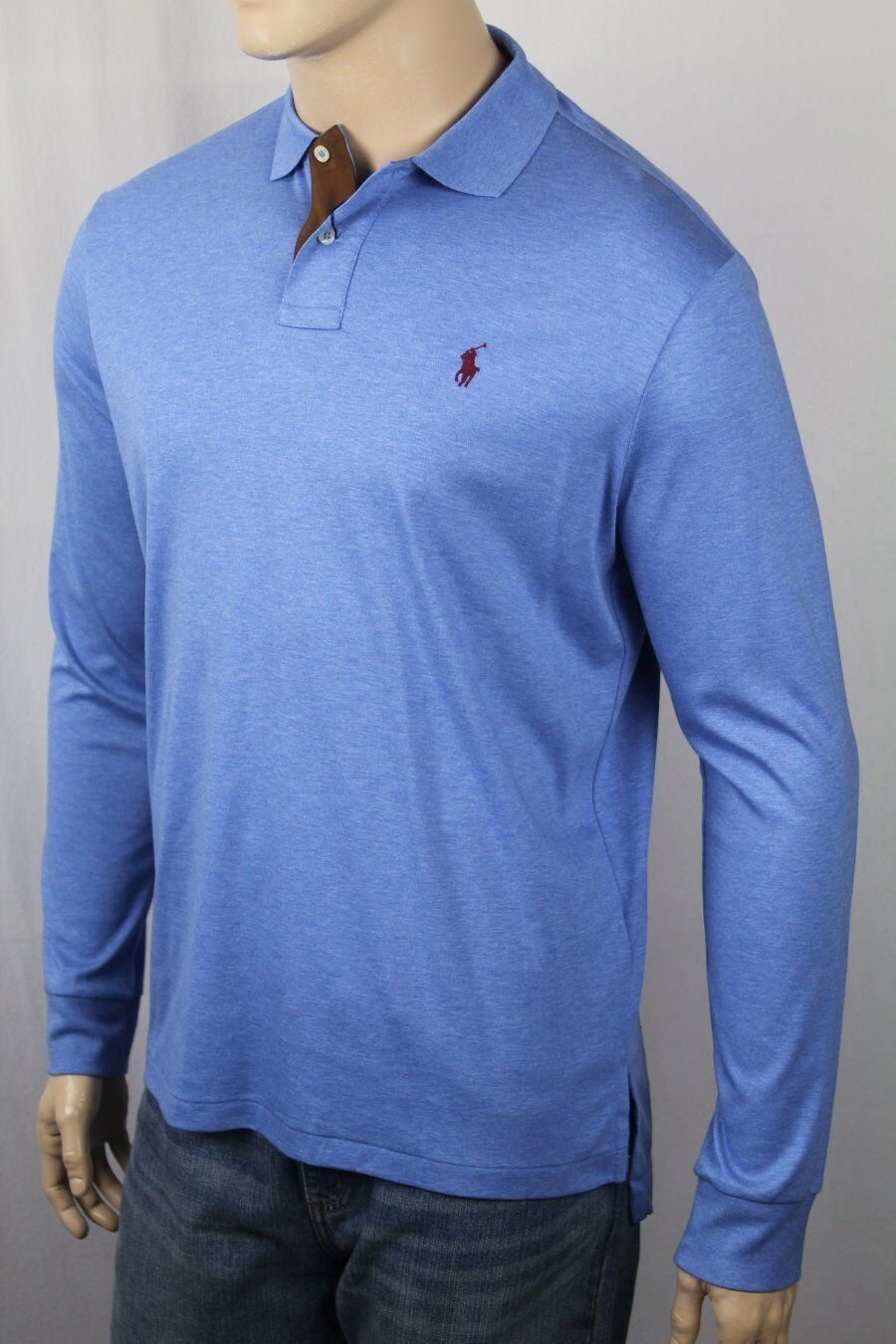 Ralph Lauren bluee Pima Soft Touch Long Sleeve Polo Shirt Classic Fit Suede NWT