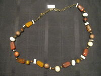 NWT CHICO'S NECKLACE BROWN YELLOW WHITE TAG PRICE $48.00