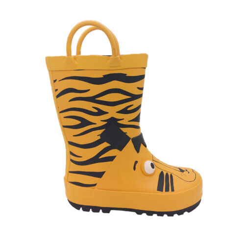 Boys Toddlers Gumboots Jellies Tiger Boots Orange Pull on Wellies Size 6-12