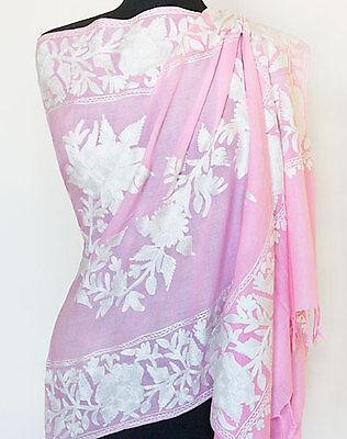 Pink & White Crewel Embroidered Wool Shaw  Artisan Kashmiri Embroidery Pashmina