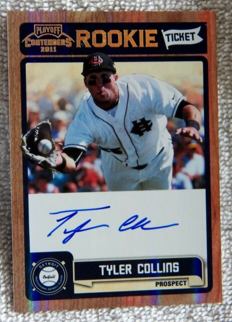 Detroit Tigers Tyler Collins Signed 2011 Playoff Contenders Rookie Ticket Auto