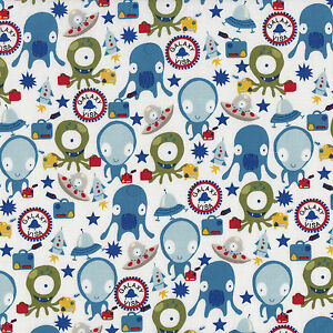 Aliens space ship rocket boys kids star galaxy visa quilt for Space boy fabric