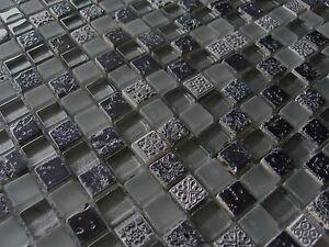 1qm Glasmosaik Mosaik Fliesen Klarglas Ornament Schwarz Silber Grau