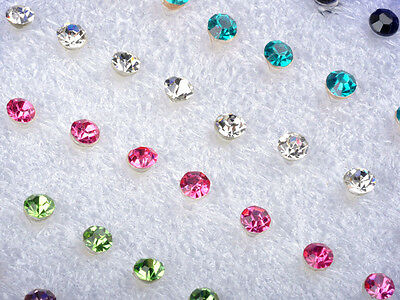 40Pcs Wholesale Lot Charming Clear Rhinestone Crystal Ear Studs Earrings W BOX