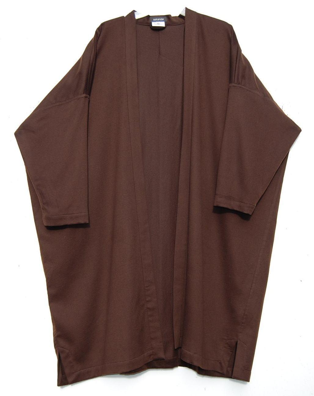 NEW Eskandar DARK BROWN Medium Weight Cashmere 43  Long Duster Coat (1)  2890