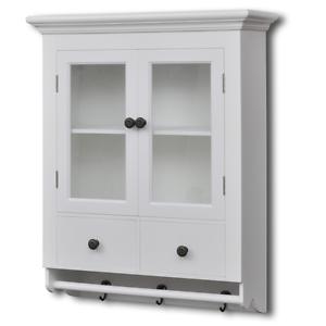 Kitchen Wall Cabinet Glass Door Wooden Hooks Mugs Drawers Shelves
