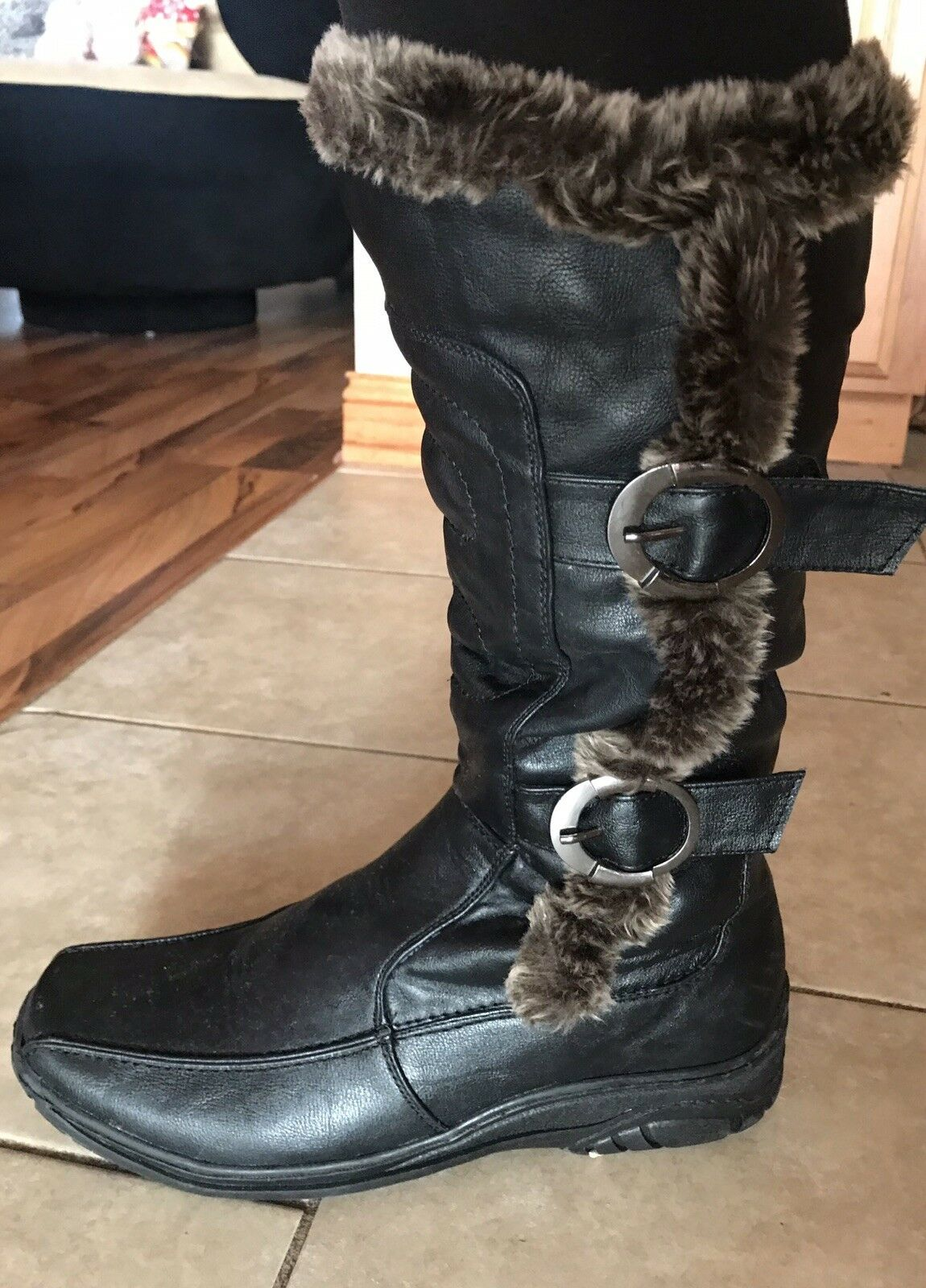 Fur Wool Lined Winter Leather Boots By Dpn Collection  Sz. 8