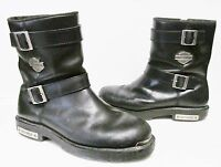 HARLEY-DAVIDSON Motorcycle Engineer Biker Boots Leather Buckle Zipper Black  12D