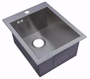Handmade 1.0 Bowl Satin Stainless Steel Inset Kitchen Sink 40 x ...
