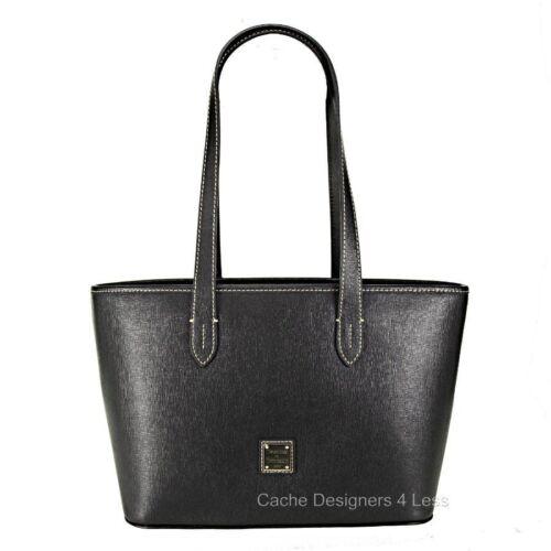 New Dooney /& Bourke Saffiano Leather Shoulder Tote Black Bag Handbag