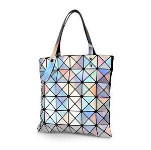 Image Is Loading 2018 New Fashion Women Folded Hologram Geometric Plaid