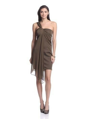 Halston Heritage Size 14 One Shoulder Ponte Dress with Overlay