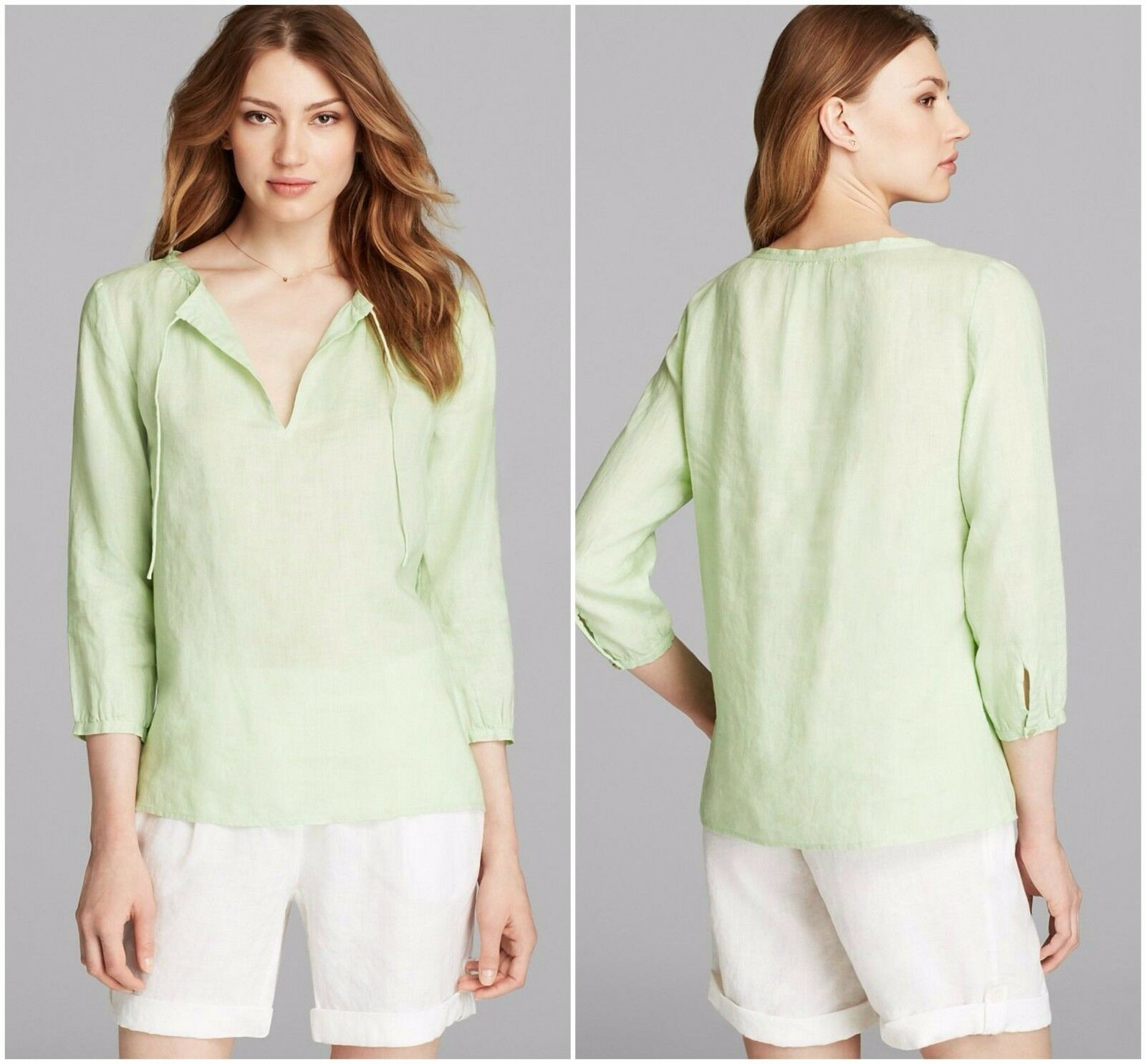 NWT EILEEN FISHER  P P  Pale Leaf Grün Irish Linen Box Top  Tunic Shirt XS