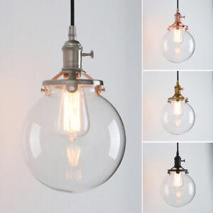 7 9 Vintage Industrial Clear Globe Glass Pendant Light Ceiling Lamp W Switch Ebay