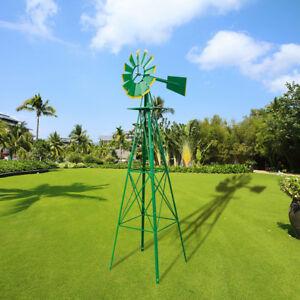 8ft-Outdoor-Metal-Windmill-Yard-Garden-Decoration-Wind-Mill-Green