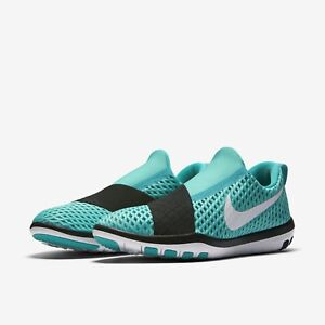 Nike-WMNS-Free-Connect-843966-300-Slip-on-Workout-Gym-Shoes-Jade-White-Black-NEW