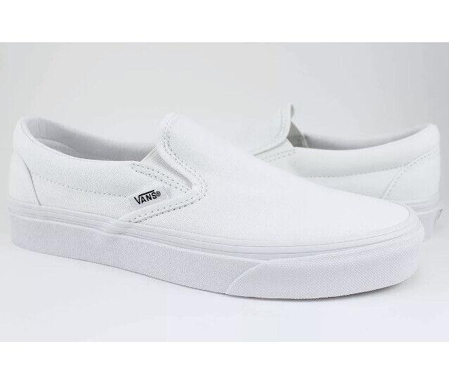 Vans Classic Slip-On Trie White Men's Shoes Size 5 / Women Size 6.5 NEW