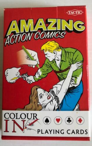 Tactic Amazing Action Comics COLOUR-IN Playing Cards kids adults Xmas Gift
