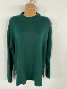 WOMENS-NEXT-DARK-GREEN-KNITTED-BUTTONS-ON-SHOULDER-CASUAL-JUMPER-PULL-OVER-UK-16