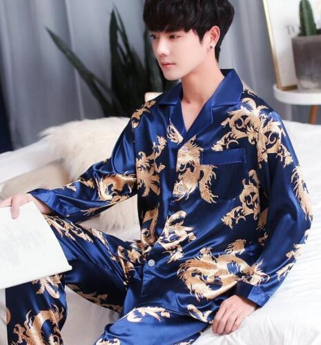 Blue Set Sleepwear Silk Men Pyjamas Plus Floral Revers Größe Langarm wvRqgwF
