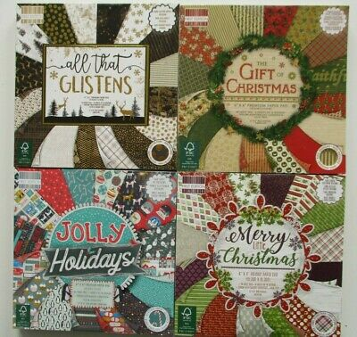 """6/"""" x 6/"""" Full Pad 48 Sheet ALL THAT GLISTENS Christmas Card Making Craft Paper"""
