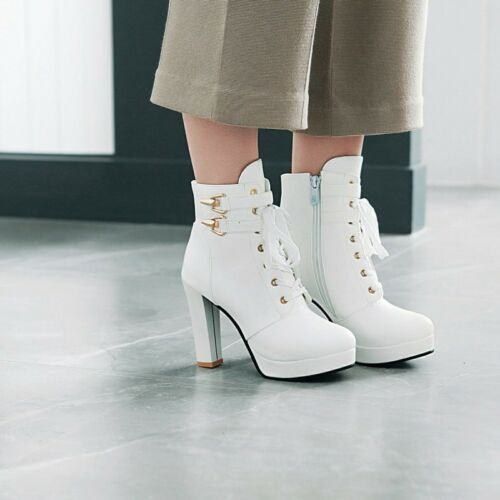 Womens Fashion Punk Round Toe Buckle Strap Lace Up Pumps High Heels Booties Size
