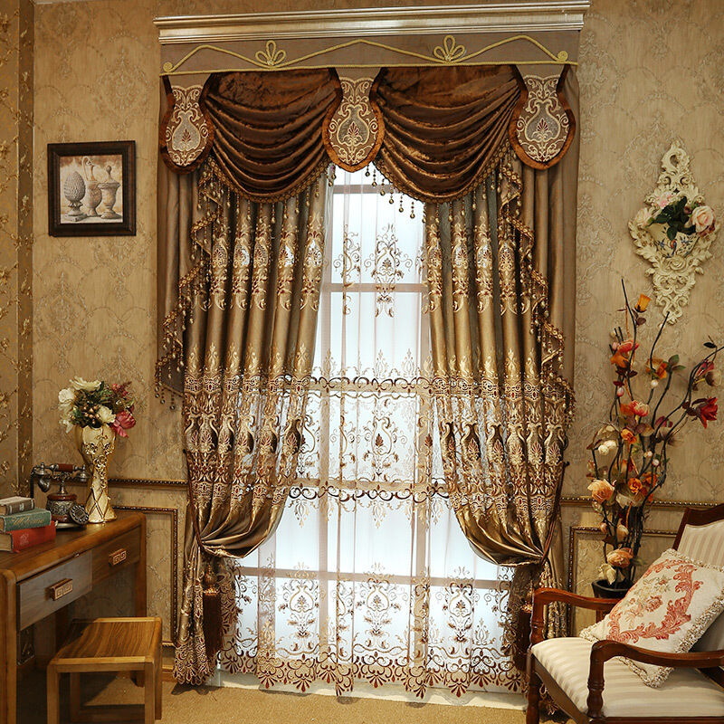 Luxury European water soluble embroider cloth curtain tulle sheer valance E761