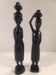 African-Wooden-Carved-Figure-Pair-12-034-Ladies-With-Pots-On-Heads