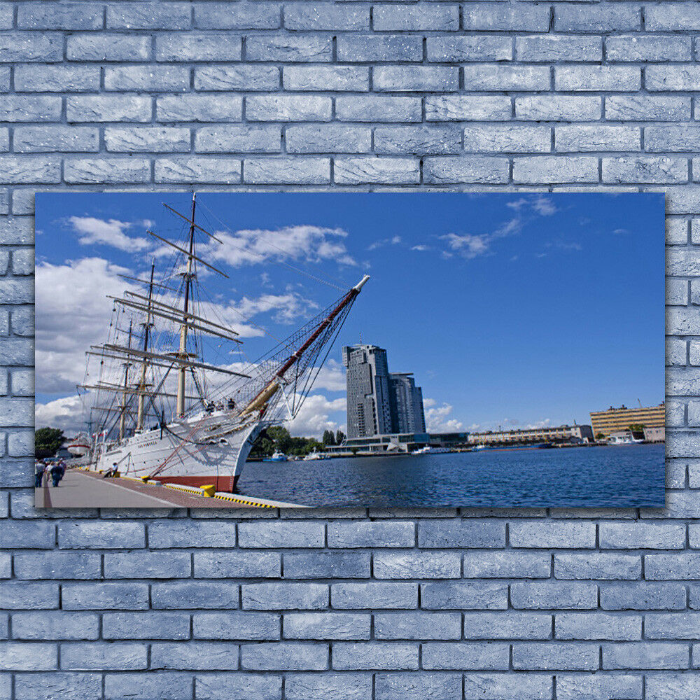 Leinwand-Bilder Wandbild Leinwandbild 140x70 Stiefel Meer Stadt Landschaft