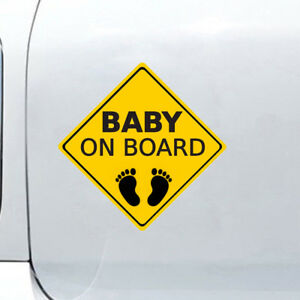 Baby On Board Footprint Warning Car Sticker Glossy Cartoon