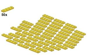 Used-LEGO-Plates-Yellow-3710-03-1x4-50Stk-Platte-Gelb