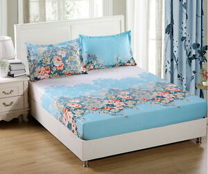 Blue-Fitted-Sheet-Or-Pillowcases-Single-Double-Queen-King-Super-King-Size