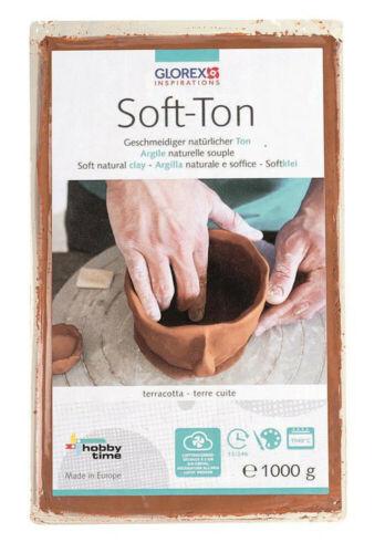 Soft-Ton terracotta 1000g Tonmasse Ton töpfern modellieren 1kg Modelliermasse