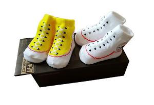 Baby Converse Baby 2-er Geschenk-Set Socken Booties Chucks 0-6 mon schwarz weiß Sokken