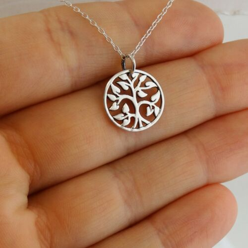 925 Sterling Silver Vines Leaves Family NEW Round Tree of Life Charm Necklace