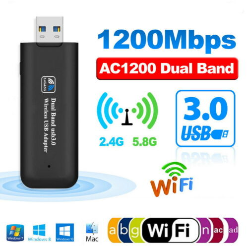 Mini Wireless USB WiFi Adapter 1200Mbps Receiver External Network Card
