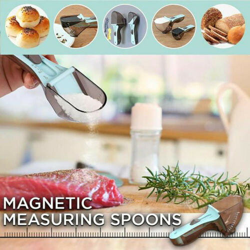 Adjustable Measuring Cups and Spoons Sets 2 Pcs Multi-US Markings Magnetic Scoop