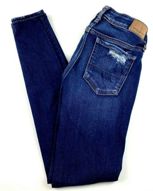 American Eagle Women's Jeans Size 0 Jegging Super Stretch Distressed Blue Denim