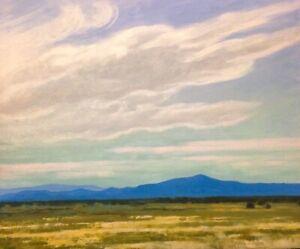 Large 24x20 Big Sky Western Impressionism Landscape Art Oil Painting Southwest